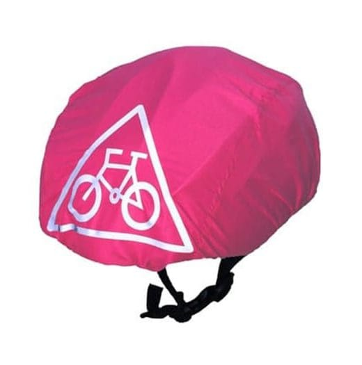 Pink waterproof cycling helmet cover (universal size)