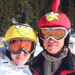 Happy couple with angry birds helmet cover