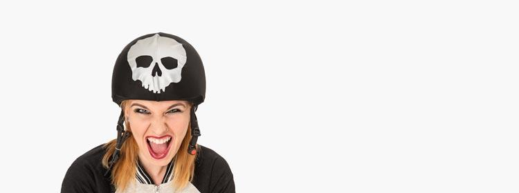 skull mad helmet cover young woman