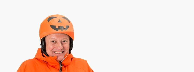 orange pumpkin halloween helmet cover man